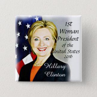 Hillary Clinton-President2016_ Bóton Quadrado 5.08cm