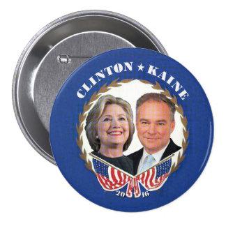 (Hillary) CLINTON * (Tim) KAINE Bóton Redondo 7.62cm