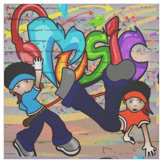 Hip Hop que dança o tecido da parede dos grafites