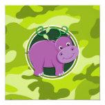 Hipopótamo bonito; camo verde-claro, camuflagem convites personalizado