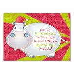 Hipopótamo bonito cartão personalizado do Natal Convite Personalizado