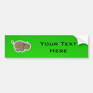 Hipopótamo bonito; Verde Adesivo Para Carro