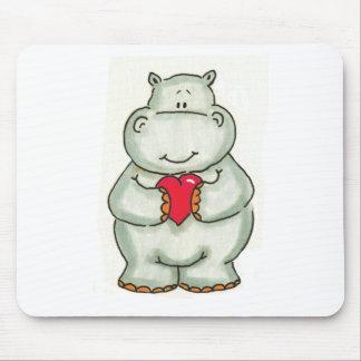 Hipopótamo com coração mousepad