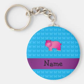 Hipopótamo cor-de-rosa conhecido personalizado chaveiros