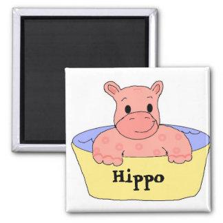 Hipopótamo cor-de-rosa ímã quadrado