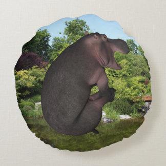 Hipopótamo da bala de canhão almofada redonda