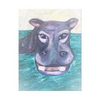 Hipopótamo de sorriso pintado em canvas