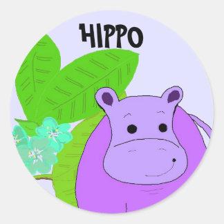 Hipopótamo de sorriso roxo adesivo