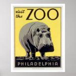 Hipopótamo do jardim zoológico do PA de Philadelph Poster