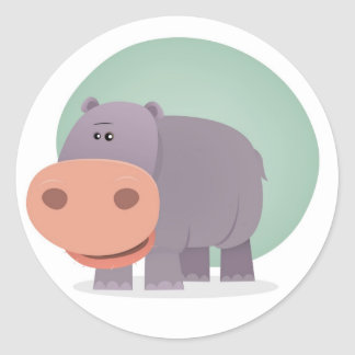 Hipopótamo dos desenhos animados adesivos redondos