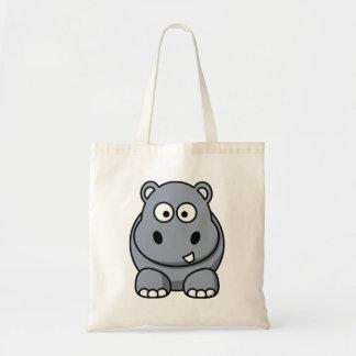 Hipopótamo dos desenhos animados bolsas para compras