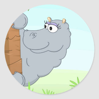 Hipopótamo escondendo adesivos redondos