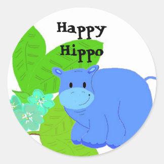Hipopótamo feliz adesivo