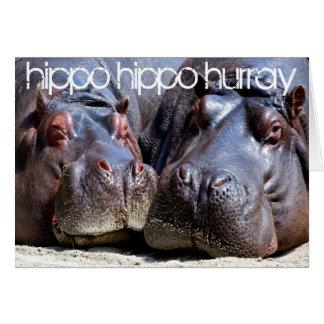 Hipopótamo Hurray do hipopótamo Cartão Comemorativo