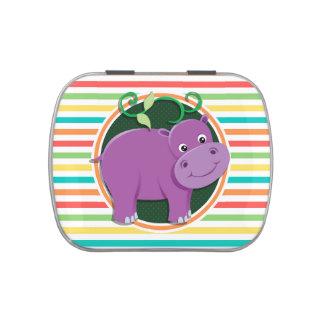 Hipopótamo Listras brilhantes do arco-íris Latinhas Mint To Be