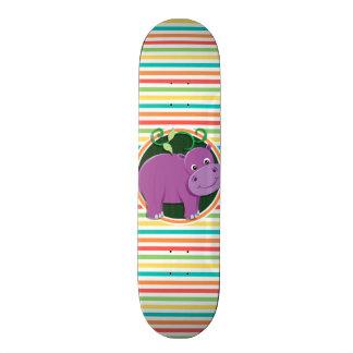 Hipopótamo Listras brilhantes do arco-íris Skate