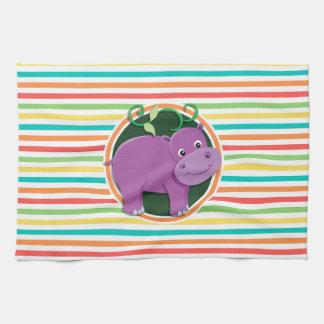 Hipopótamo Listras brilhantes do arco-íris Panos De Prato
