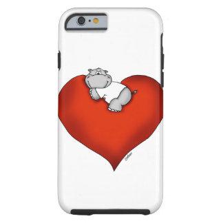 Hipopótamo lunático no coração capa tough para iPhone 6