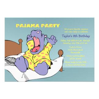 Hipopótamo no convite dos pijamas