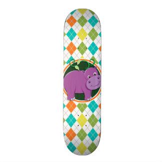 Hipopótamo no teste padrão colorido de Argyle Shape De Skate 18,4cm