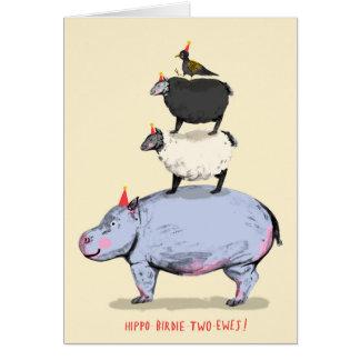 Hipopótamo, passarinho, duas ovelhas! Cartão de