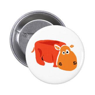Hipopótamo primitivo engraçado da arte boton