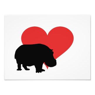 Hipopótamo vermelho do coração impressão de foto