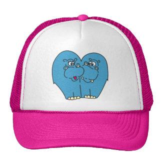 Hipopótamos cor-de-rosa dos desenhos animados no boné