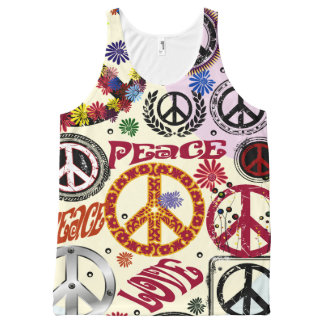 Hippie da paz & do amor de flower power regata com estampa completa