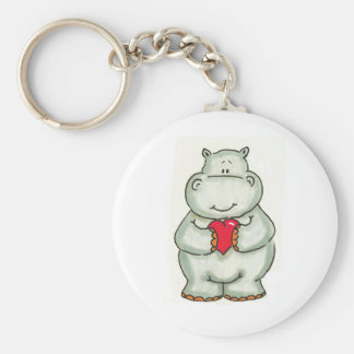 Hippo with Heart Keychains
