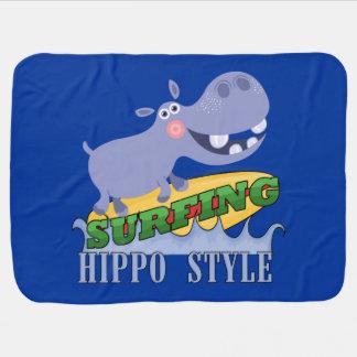 Hippopotamus do surfista cobertorzinhos para bebe