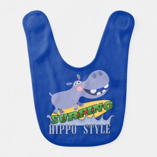 Hippopotamus do surfista babadores para bebes