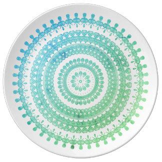 Hippy aciganado popular tribal de Boho do verde da Pratos De Porcelana