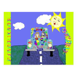 Hippys psicadélicos e cartão pintado do carro