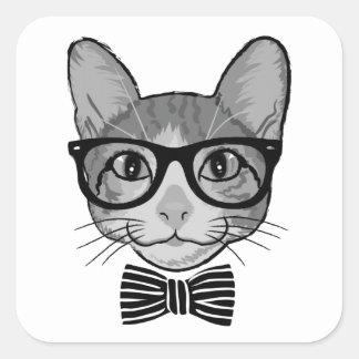 Hipster branco preto do gato com laço adesivo quadrado
