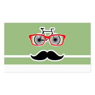 Hipster engraçado; Listras horizontais verdes do Cartão De Visita