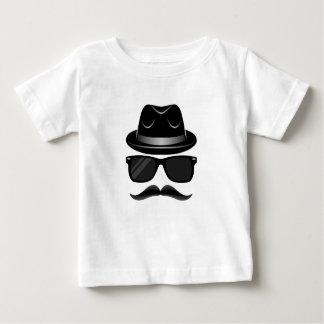 Hipster legal com bigode, chapéu e óculos de sol camiseta para bebê