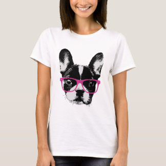 Hipster Nerdy da mamã do buldogue francês Camiseta