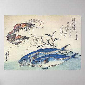 Hiroshige - cavalo Mackeral e camarões Pôster