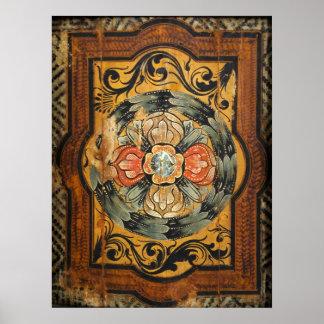 hist gótico velho do vintage de madeira medieval pôster