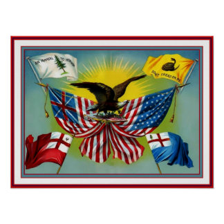 História 1885 do vintage do poster de bandeiras do