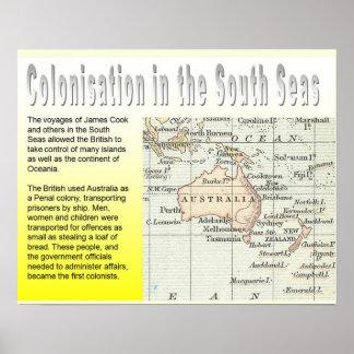 História, colonização, mares sul das colônias pôsteres