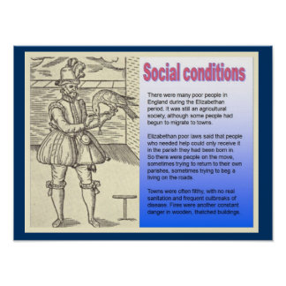 História, condições sociais no tempo de pôster