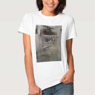 História da aviação da letra do vintage tshirt