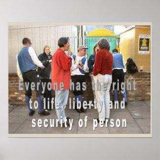 História, direitos humanos, vida, liberdade, segur posteres