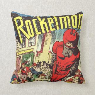 História em quadrinhos do vintage de Rocketman Travesseiros De Decoração