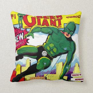 História em quadrinhos gigante verde do vintage travesseiro