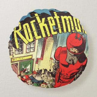 História em quadrinhos retro - Rocketman Almofada Redonda