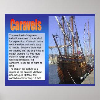 História, exploração, Caravels, navio de navigação Poster
