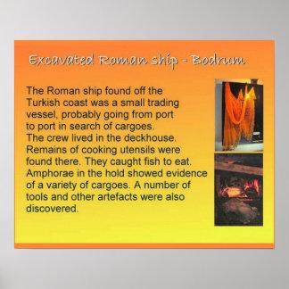 História, exploração, navio romano escavado poster